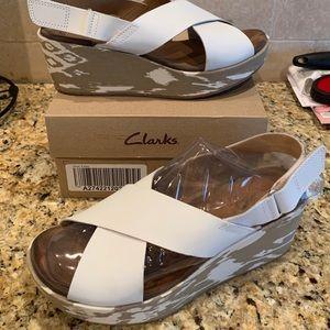 Clark's cross strap wedge sandal